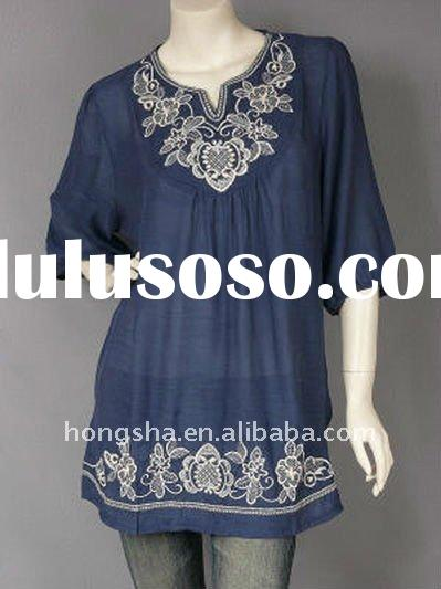 Blue Casual Embroidered Peasant Tunic Top HSF8015
