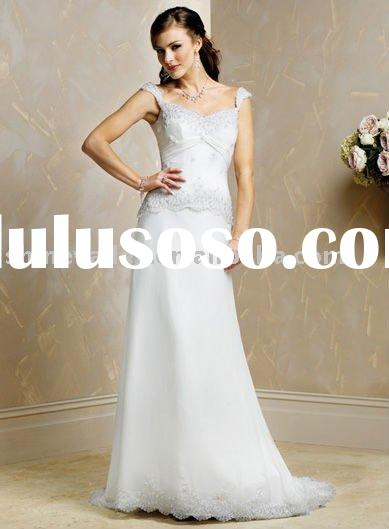 Brand New Gorgeous Custom-made Cap Sleeves Chiffon over Satin Wedding Dress,SH643
