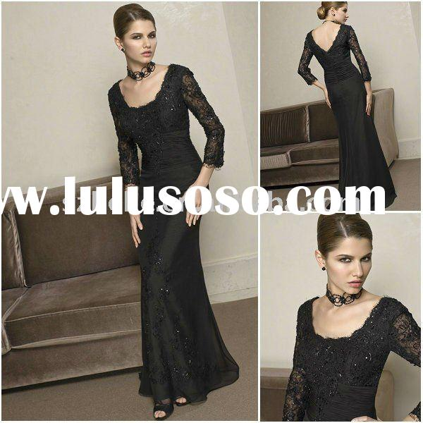 Classic black Scoop neckline V back mother bridal dress M0012 formal mother of the bride chiffon sui