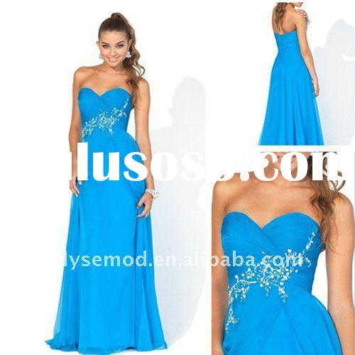 Clean and Elegant A-line Sweetheart Beaded Full Length Blue Chiffon Prom Pregnant Women Dresses