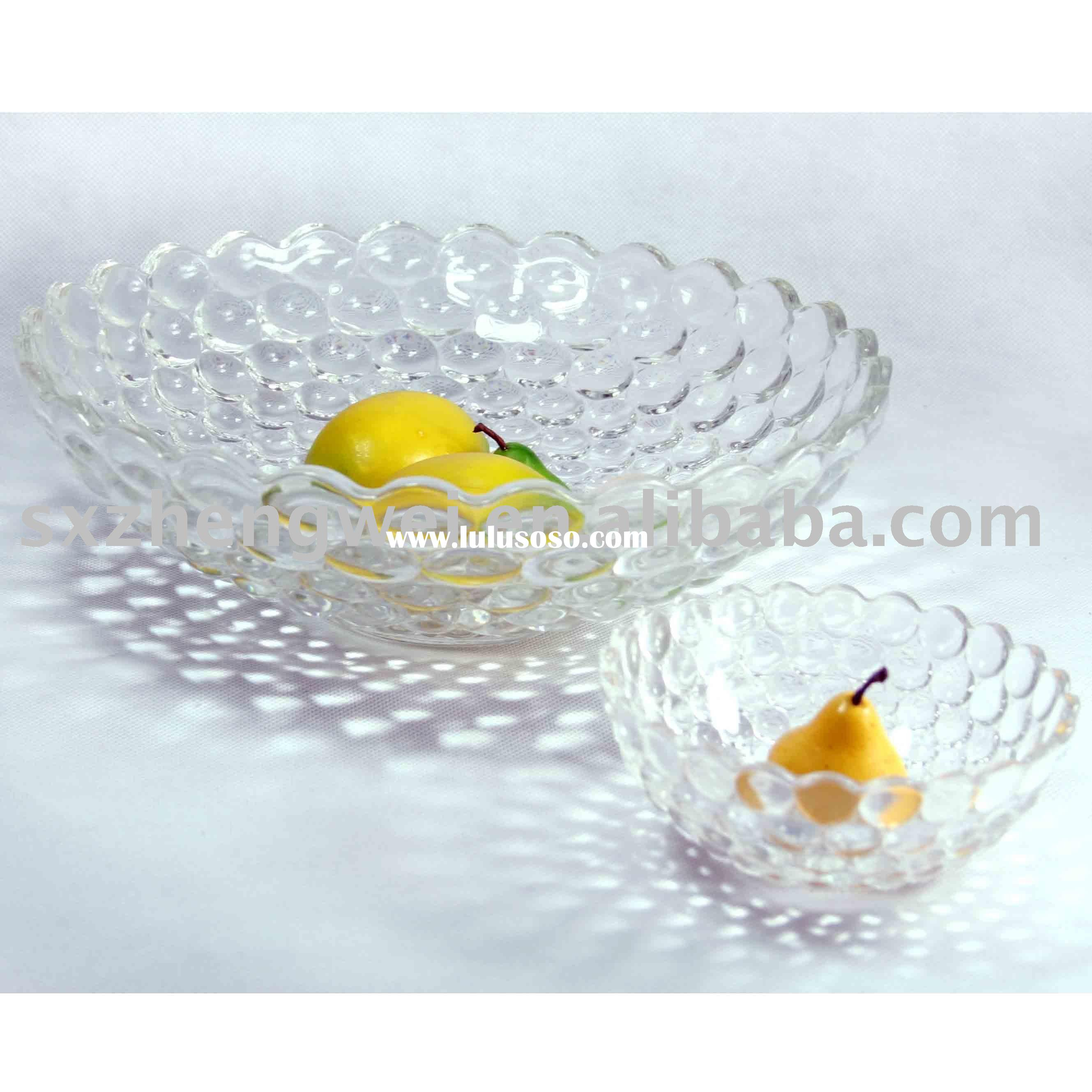 Clear Glass Fruit/Salad Bowl with Beautiful Optical Design