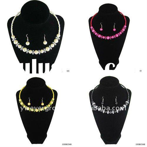 Colorful acrylic beads necklace and earring set