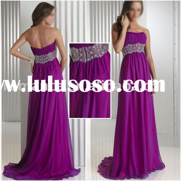ED4999 Stunning Purple Chiffon Strapless Floor length Evening Dress