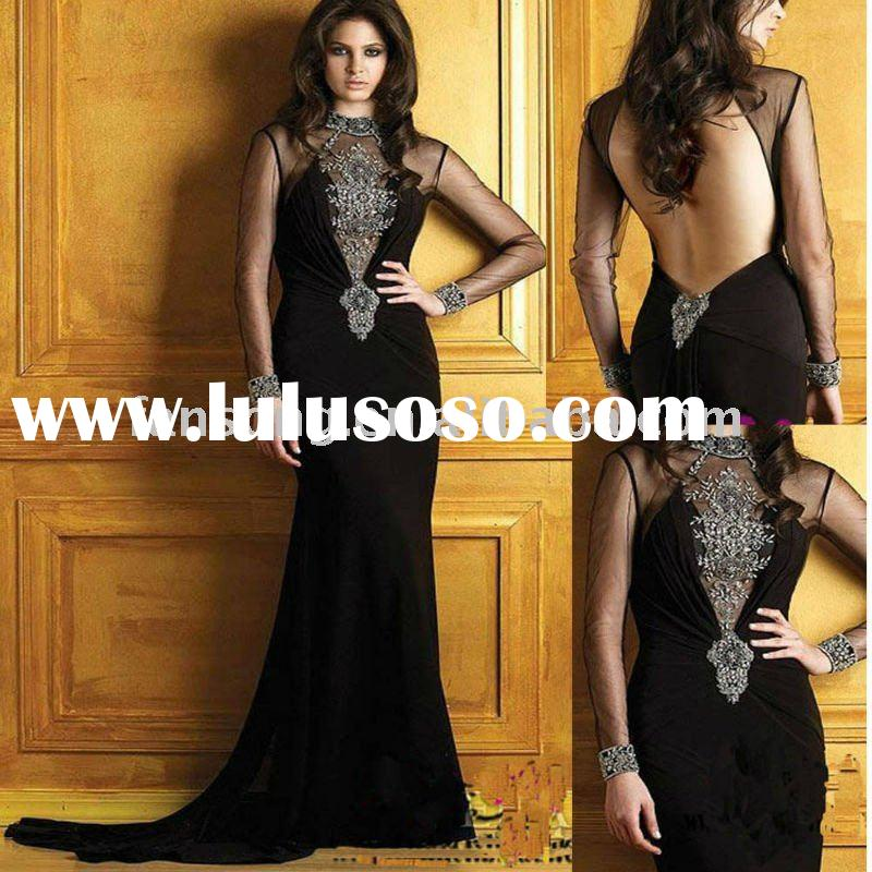 Fashion design long sleeve black tull sheath open back evening dress