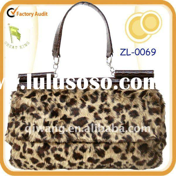 Faux Fur with leather Women Bag
