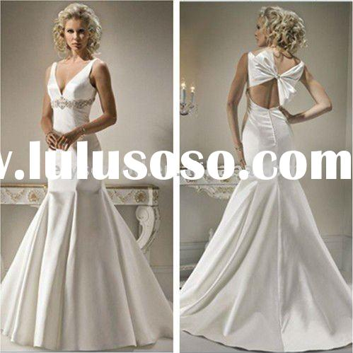 Fit Flare Jeweled Empire Waist Satin Descends Sophisticated Trumpet Wedding Dresses