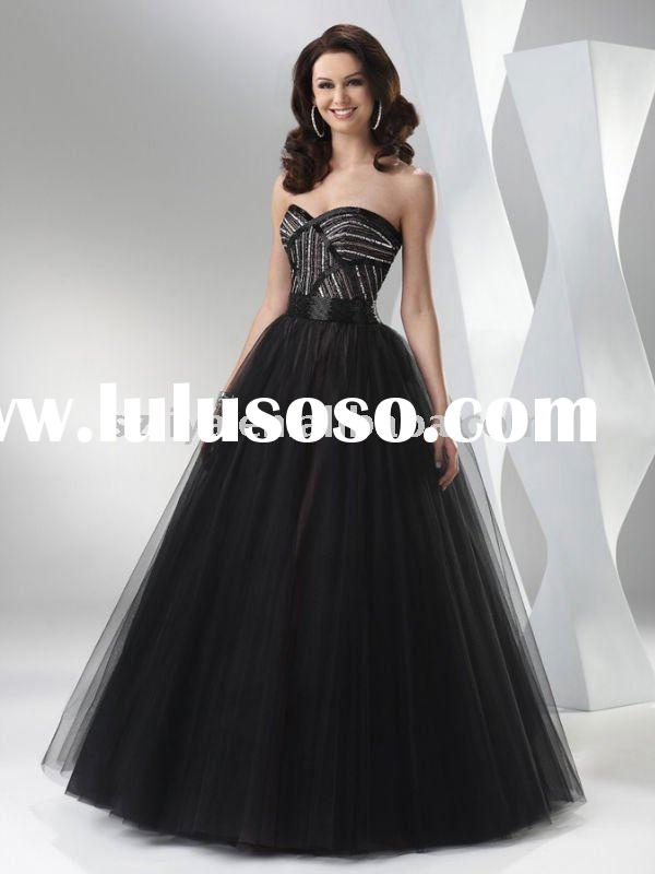 Floor length Ball Gown Strapless Sweetheart Neckline Tulle 2011 Custom Made Black evening gowns wlf8