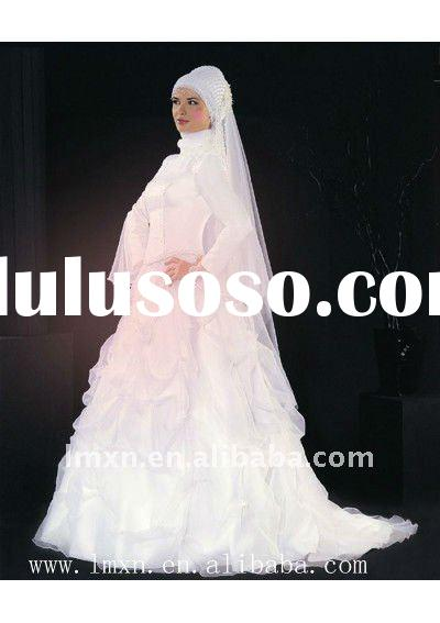 Floor length Organza A-line long sleeve embroidery customer made muslim wedding gown
