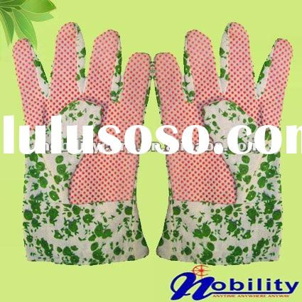 Floral Printed Garden Gloves With Pvc Dots On Palm