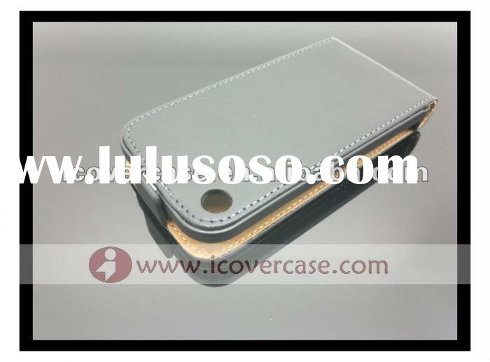 Genuine Flip Leather Case for iPhone 3G 3GS Black Color