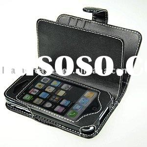 Genuine leather for iphone 4 leather case-book Type (Black)