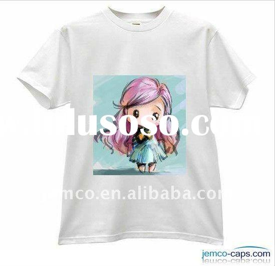 Girl's shirt with printing logo, cotton twill t-shirt for girl, short sleeve t-shirt
