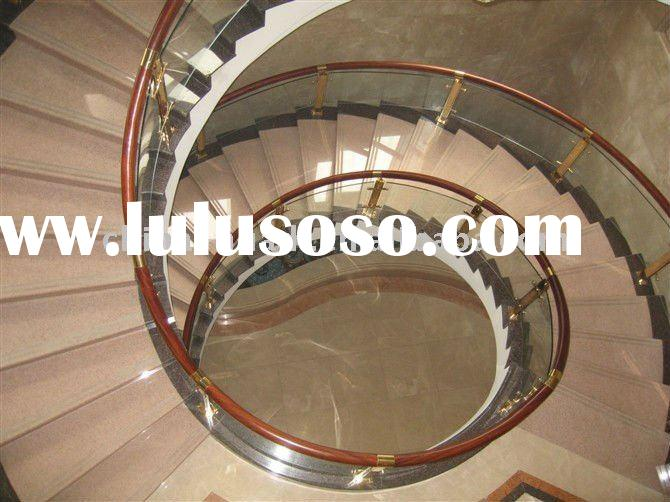 Glass+Wood Spiral Stair Handrail