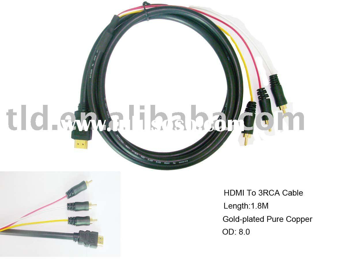 HDMI to 3 RCA Cable