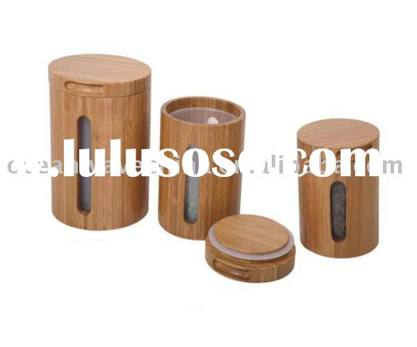 High quality 3pc bamboo canister set