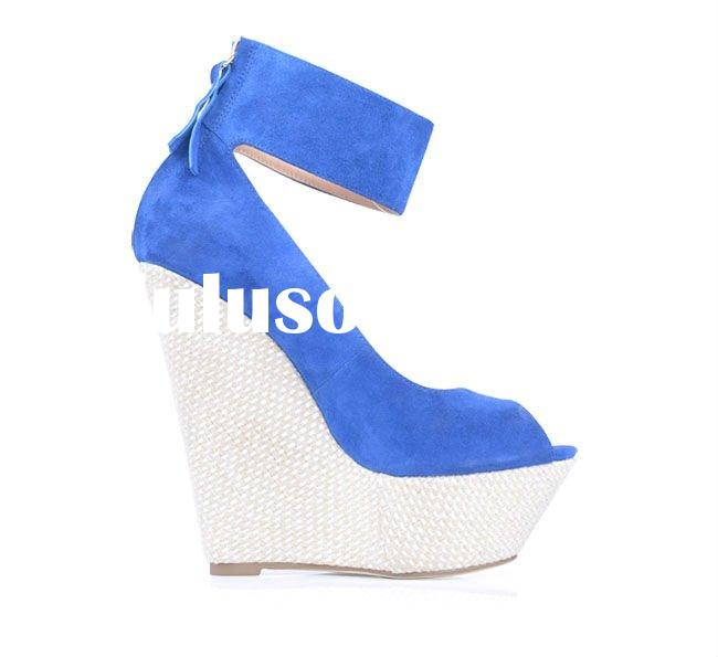 Hot selling! women high heel wedge shoes,blue suede leather