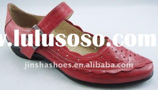 Ladies genuine leather flat casual shoes with buckle strap