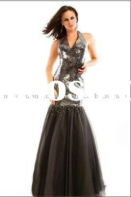 Long Halter Sequin Mermaid Prom Dresses