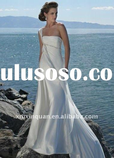 MSW470 designer one-shoulder crystals beaded pleated women's white chiffon casual romantic b