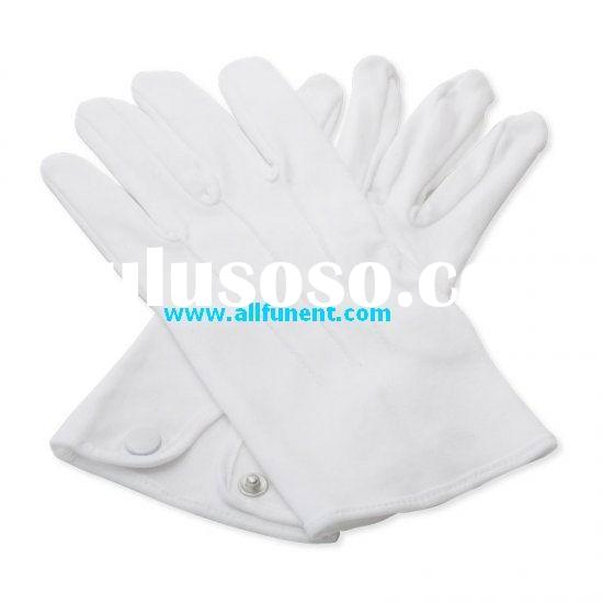 Men's Plain white Cotton Glove with button fastening