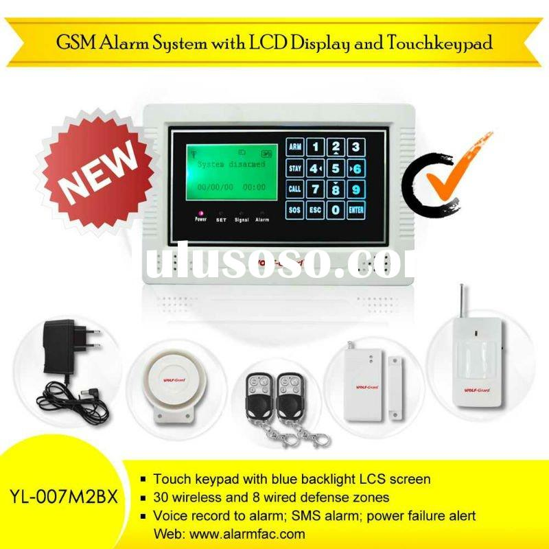 NEW GSM+PSTN alarm system with LCD display and touch keypad(gsm home intruder alarm)