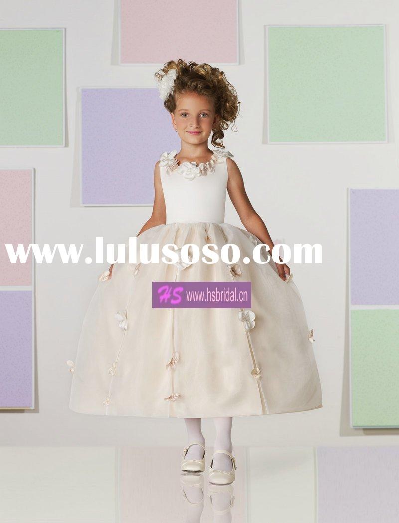 NEW arrived A-line Scoop Satin Tulle flower girl dresses 2012
