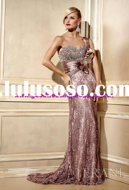 New Style Hot Sale Lace Beaded One-shoulder Prom Dress