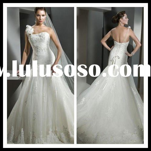New arrival one flower strap lace wedding dresses