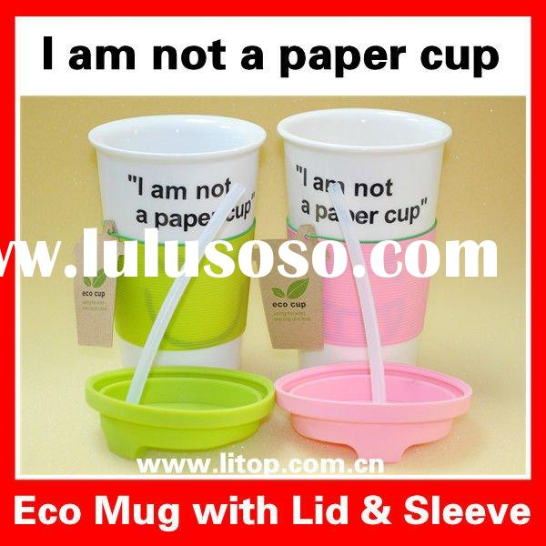 "Personalized Ceramic Eco Mug Coffee Mug Tea Mugs and Cups with Silicon Lid & Sleeve ""I am n"