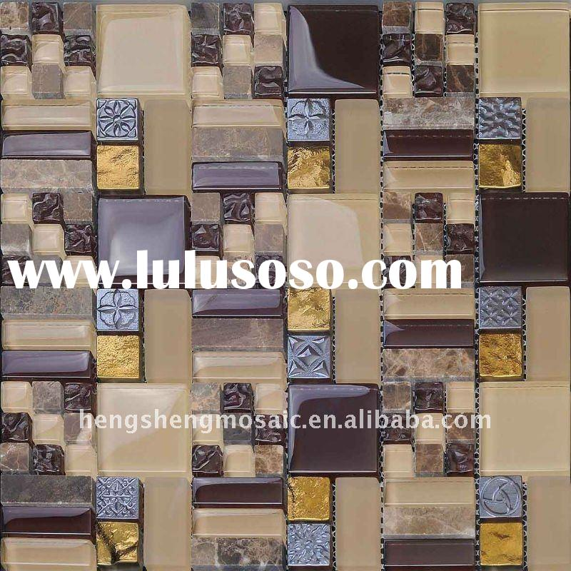 Plating & Stone mixed Anaglyph crystal glass mosaic wall tile(KS-352)