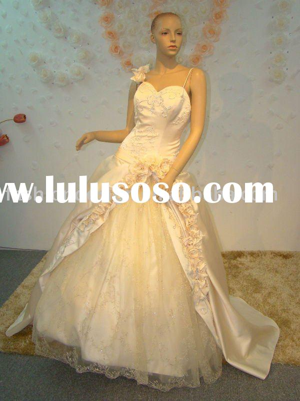 REAL067 2012 Elegant one shoulder rose straps embroidery champagne Wedding dress