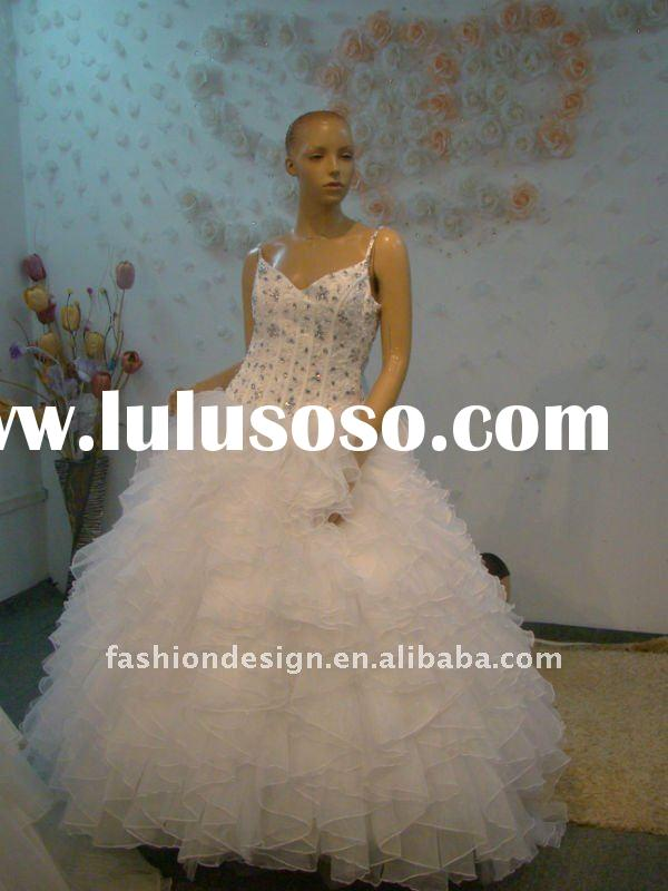 REAL435 2012 spaghetti straps satin crystals top with ruffles pleats organza ball skirt wedding dres