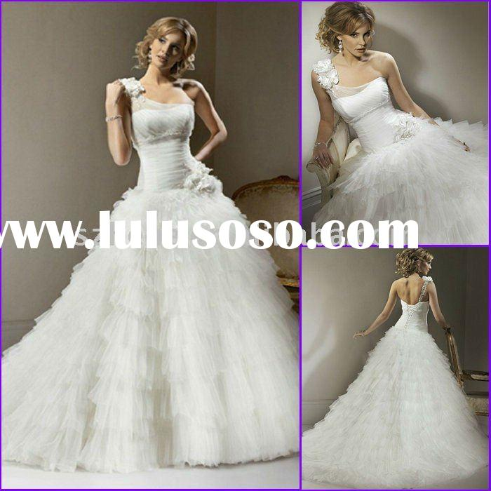 Romantic floral feature Ball gown one shoulder neckline tulle wedding gown J0045 wedding dress