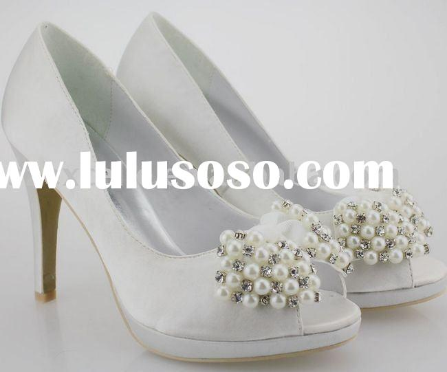 Satin upper with high heel rhinestone pearls bridal shoes