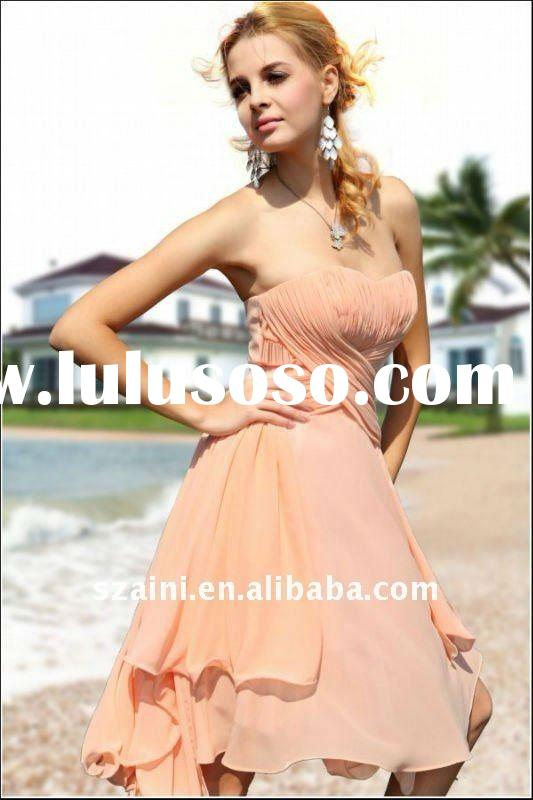 Short strapless knee-length Fashion Evening Dress made with chiffon elegant charming dress TT337