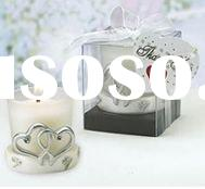 Silver Double Heart Frosted Candle holder(votive candle holder)