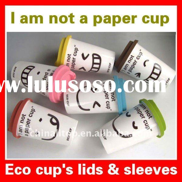 Various Funny Faces Single Wall Porcelain Eco Coffee Tea Mugs and Cups with Silicone Lid & Sleev