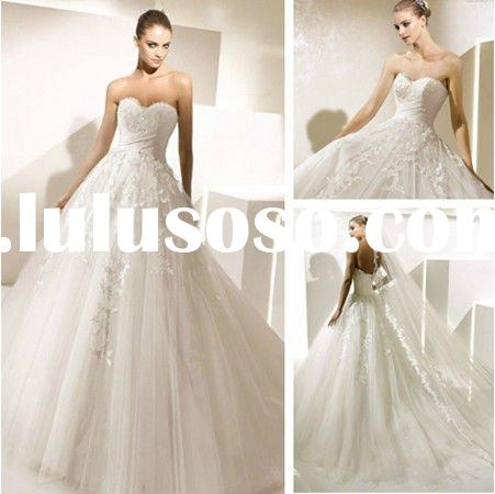 WD5573 Sweetheart Court Train Royal Wedding Dresses