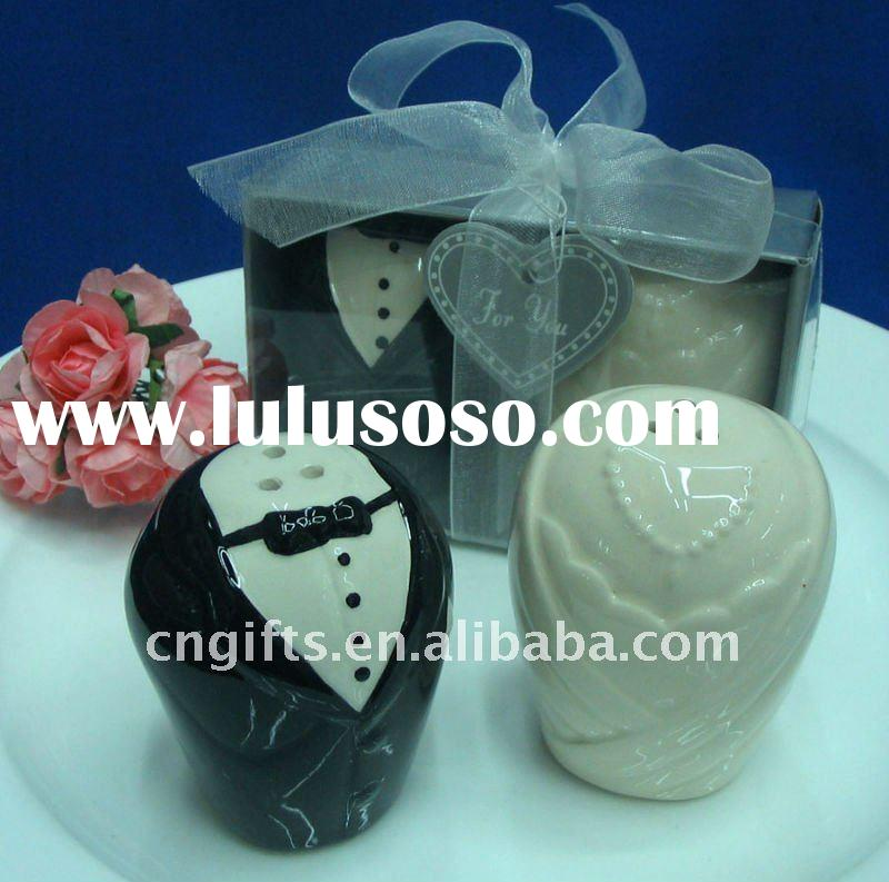 Wedding favors personalized of The Bride and Groom Ceramic Salt and Pepper Shaker set