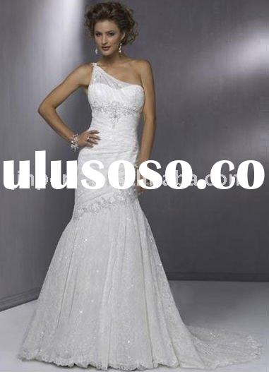 White One Shoulder Satin Lace Wedding Gown 2011 Y0918030S