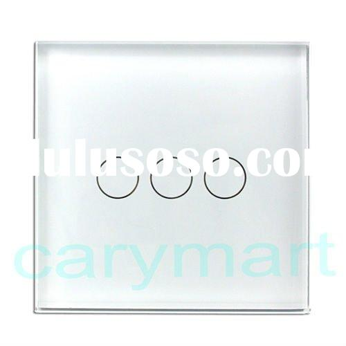 With LED Backlight European one way 3 Gang White Crystal Glass Panel Touch Wall Light Switch