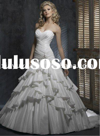 classic pleat tier on the skirt ball gown corset taffeta wedding dress bridal gown MA515