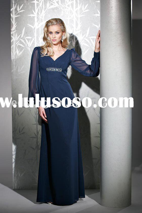 classic sweetheart long sleeve dark blue formal dress evening gowns