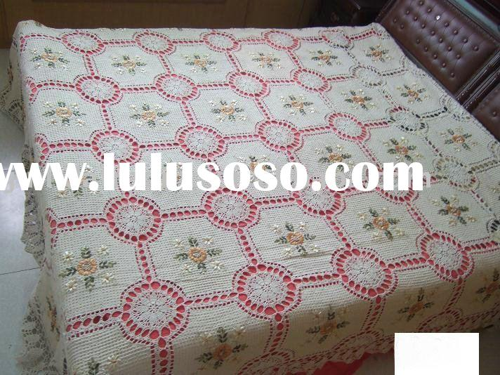 Crochet Bed Cover With Embroidered Patchwork