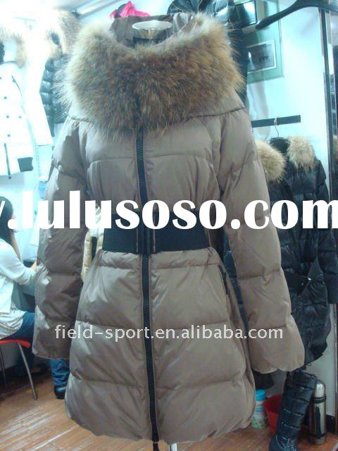elegant fashion long fur collar winter down coats /jackets for ladies