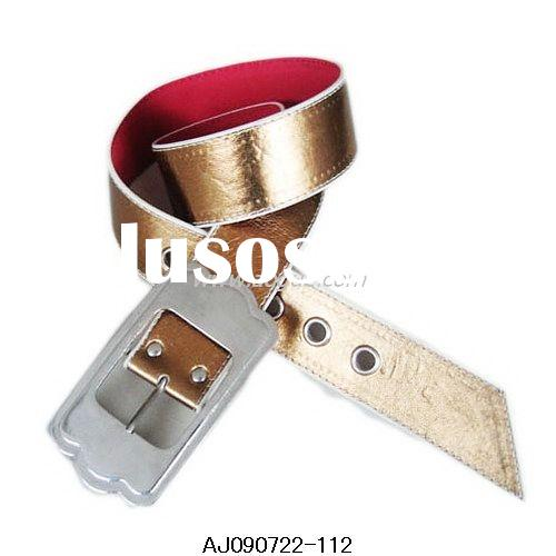 fashion artificial leather gold belt