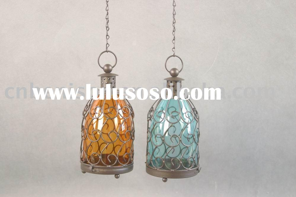 hanging cheap taper glass tube metal candle holder with orange and blue finish