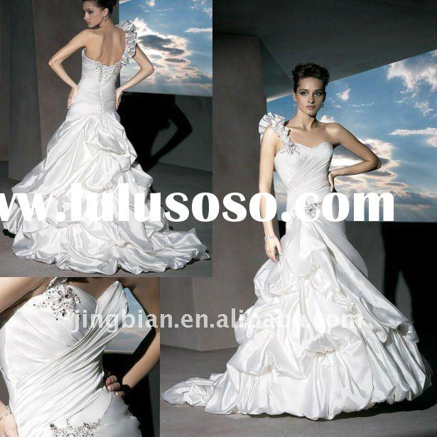 removable ruffled, One-Shoulder Strap, Sweetheart neckline and A-Symmetrical Dropped Waist beaded we