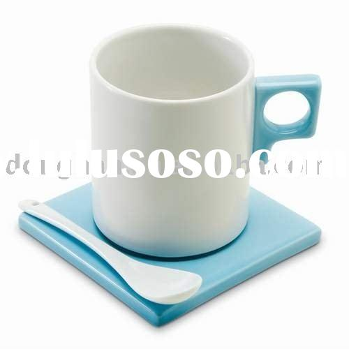 special desiged promotional ceramic coffee mug set with spoon