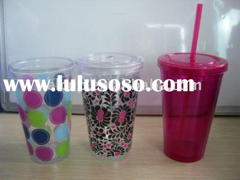 the fashion double wall plastic cup with straw